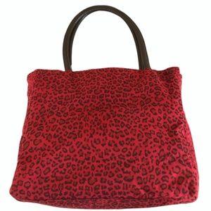 Neiman Marcus Red Felt Leopard Print Tote - Large